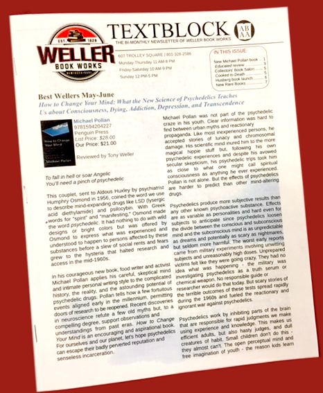 Sign up for TextBlock, the bi-monthly newsletter of Weller Book Works